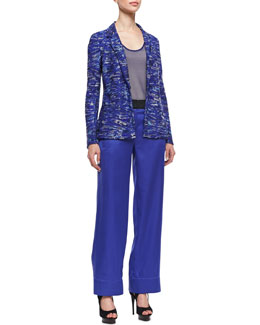 Giorgio Armani Beaded Jacket, Sheer Sleeveless Top & Wide-Leg Satin Pants