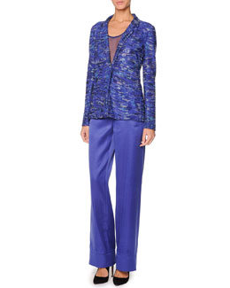 Giorgio Armani Swarovski Crystal Jacket, Sheer Silk Tank Top & Wide-Leg Satin Pants