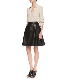 Diane von Furstenberg Lorelei Long-Sleeve Silk Blouse & Riley Flowy Leather Skirt
