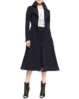 Burberry Prorsum Double-Breasted A-Line Midi Coat, St Paul's Cathedral Printed Jersey T-Shirt & Fluted Lace Midi Skirt