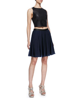 Alice + Olivia Lorita Leather Crop Top & Polly Leather-Waist Pleated Skirt