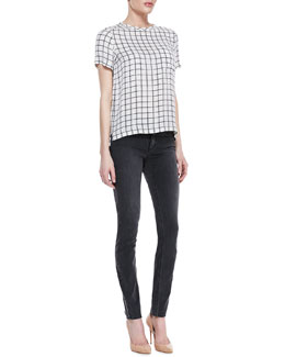 Theory Broxlin Scribble Grid Silk Top & Billy Grimsel Travel Skinny Jeans