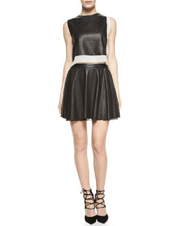 Alice + Olivia Sleeveless Combo Leather Crop-Top & Blaise Leather Trapeze Skirt with Lace Hem