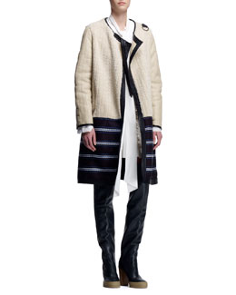 Chloe Biker Shearling Coat, Long-Sleeve Tie-Neck Blouse & Crepe Sleeveless Dress