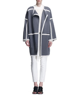 Chloe Milano Paneled Long Jacket and Brushed Fuzzy Knit Sweater