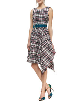Oscar de la Renta Asymmetric Draped Tweed Dress & Wide-Buckle Suede Belt