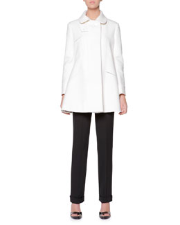 Giorgio Armani A-Line Coat with Leather-Covered Button & Stretch Wool Cuffed Straight-Leg Pants