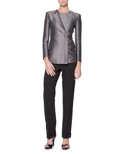 Iconic One-Lapel Metallic Jacket & New Textured Ribbed Ottoman Tank