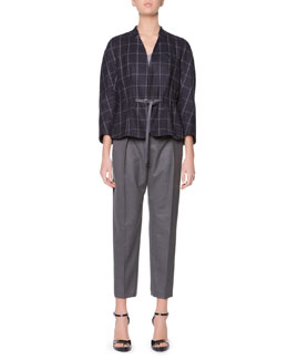 Giorgio Armani Raglan-Sleeve Windowpane Check Jacket, Long-Sleeve Sheer-Back Top & Micro Pleat Flannel Gabardine Ankle Pants