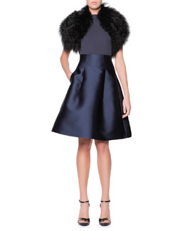 Giorgio Armani Curly Lamb Shearling Collar, Cap-Sleeve Shoulder-Ruched Jersey Top & High-Waist Silk Gazar Full A-Line Skirt