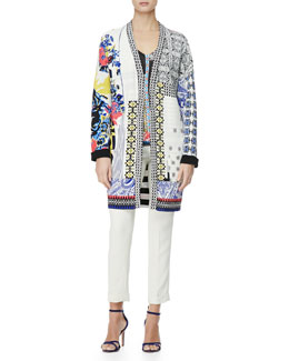 Etro Multimedia Patch-Print Duster Jacket, Hawaiian Paisley Stamp-Print Top & Cady Cuffed Cigarette Trousers