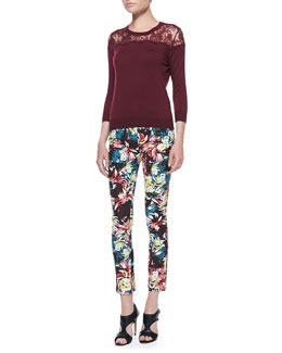 Erdem Manon Lace-Yoke Jumper and Melinda Fitted Printed Trousers