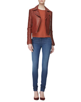 J Brand Ready to Wear Aiah Zip-Front Leather Jacket, Eugenia Crewneck Cashmere Sweater & 624 Mid-Rise Stacked Super Skinny Jeans