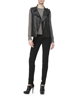 J Brand Ready to Wear Madisyn Leather Vest, Eugenia Crewneck Cashmere Sweater & Maria High-Rise Skinny Jeans