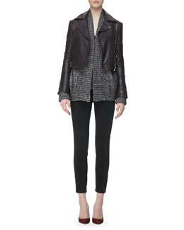 J Brand Ready to Wear Aiah Leather Zip-Front Jacket,  Nadja Thin-Strap Tank Top, Ivanka Marled Knit Sweater & Alana Darkest Gray High-Rise Cropped Jeans