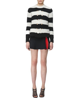 Thakoon Addition Striped Cable-Center Pullover and Ponte Flared Zipper Skirt
