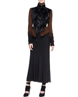 Donna Karan Belted Lambskin Suede/Fur Jacket & Georgette Layered Bias Skirt