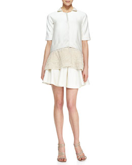 Lela Rose Short-Sleeve Jacket with Faux Pearl Embroidery & Drop-Waist Flounce Skirt