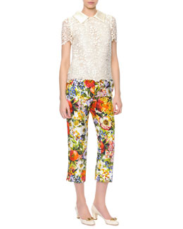 Dolce & Gabbana Short-Sleeve Macrame Lace Blouse & Floral-Print Ankle Pants