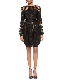 Oscar de la Renta Long-Sleeve Cutout Lace Blouse, Cutout Bubble Skirt & Wide Leather Tassel Belt