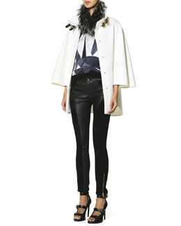 Emilio Pucci Double Buckle Fur-Trimmed Collar Coat, Short-Sleeve Printed Front Top & Leather Panel Zip Ankle Leggings