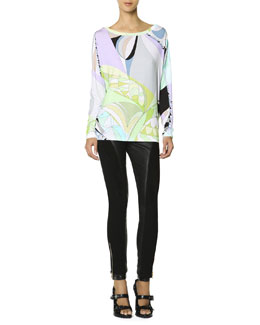 Emilio Pucci Long-Sleeve Boat-Neck Printed T-Shirt & Leather Panel Zip Ankle Leggings