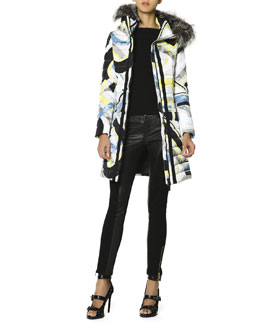 Emilio Pucci Belted Fur-Trimmed Hood Quilted Coat, Zip-Trim Top & Leather Panel Zip Ankle Leggings