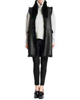 Reversible Shearling Fur/Leather Vest, Elbow-Patch Cashmere Turtleneck Sweater & Tab-Front Zipper-Cuff Slim Pants