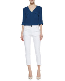 Alice + Olivia Donnie Silk-Blend Button-Down Top & High-Waist Skinny-Leg Pants