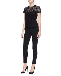 Ralph Lauren Black Label Lana Leather-Sleeve Lace Top and Lana Skinny Ankle Pants
