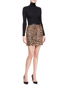 Ralph Lauren Black Label Long-Sleeve Cashmere-Silk Turtleneck and Lindell Leopard-Print Miniskirt
