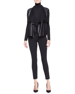 Ralph Lauren Black Label Drape-Neck Combo Cardigan, Cashmere-Silk Turtleneck & Lana Skinny Ankle Pants