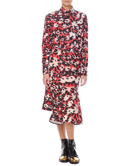Long-Sleeve Floral-Print Chest-Pocket Blouse & Abstract Floral-Print Skirt with Side Godet