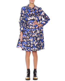 Marni Floral-Print Collared Spring Coat & Inverted-Pleat Floral-Print Dress