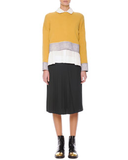 Felt-Trim Knit Cropped Sweater, Inverted-Pleat Poplin Blouse & Accordion-Pleat Crepe Skirt