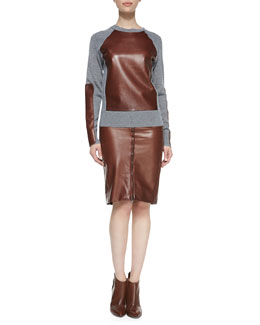 Reed Krakoff Long-Sleeve Leather-Block Sweatshirt and Zip-Front Leather Pencil Skirt