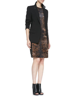Reed Krakoff Blazer Jacket with Leather & Printed Side-Panel Dress
