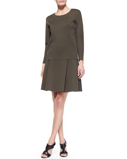 J Brand Ready to Wear Darc Long-Sleeve Scuba Top and Kimberly Pleated Scuba Skirt