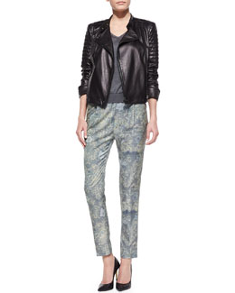 J Brand Ready to Wear Crista Leather Moto Jacket, Julie Lightweight Knit V-Neck Sweater & Starkey Printed Pull-On Pants