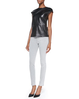 J Brand Ready to Wear Karo Cap-Sleeve Leather Top & Mid-Rise Skinny Jeans