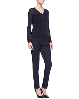 J Brand Ready to Wear Julie Lightweight Knit V-Neck Sweater & Bergen Two-Tone Slim Pants