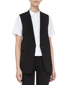 J Brand Ready to Wear Poitier Oversize Suit Vest & Chelsea Short-Sleeve Straight Blouse