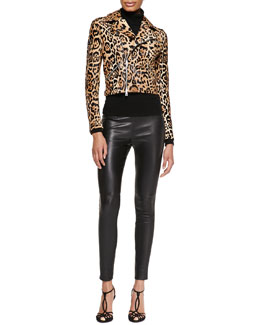 Ralph Lauren Black Label Roxana Leopard-Print Moto Jacket, Cashmere-Silk Turtleneck & Abbey Leather Skinny Pants