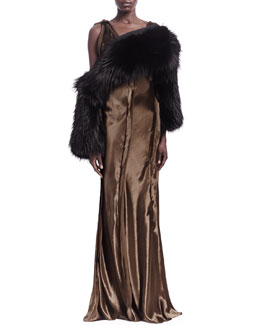 Lanvin Raw-Edge Seamed Sleeveless Gown and Fox Fur Convertible Scarf