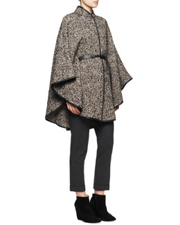 Etro Leather-Belt Tweed Poncho, Long-Sleeve Victorian Garden-Print Blouse & Serged Front Zip-Cuff Capri Pants
