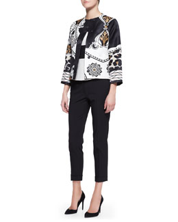 Etro Exploded Paisley/Leopard-Print Jacket, Cap-Sleeve Wide-Stripe Peplum Top & Serged Front Zip-Cuff Capri Pants