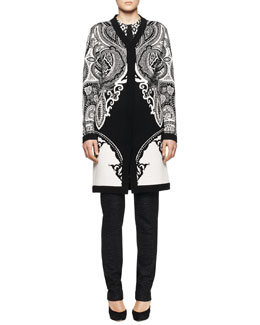 Etro Intarsia-Knit Paisley Duster, Long-Sleeve Inverted Geo-Print Blouse with Solid Center & Skinny Dotted Pants