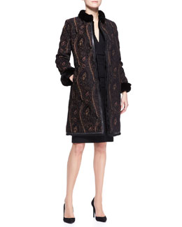 Etro Mink-Collar Paisley Reversible Rabbit Coat & 3/4-Sleeve Fitted Ruched-Waist Dress