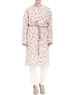 Chloe Embroidered Maxi Coat with Belt, Loose Silk Crepe Tank & Pleated Crepe Sable Pants