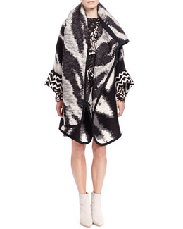 Chloe Zigzag Maxi Blanket Jacket & Shadow Spots Tiered Ruffle Dress